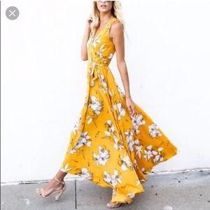 Vici yellow floral maxi dress